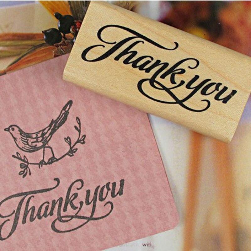 2 projekt dziękuję Vintage Stamp do scrapbookingu materiały piśmienne DIY w stylu Vintage drewniany stempel