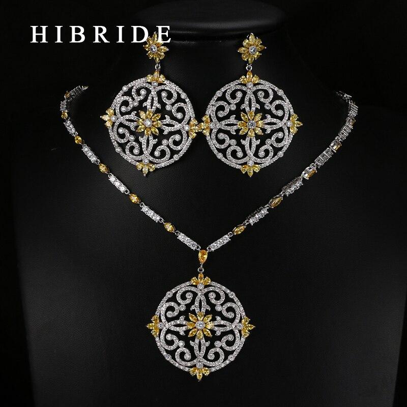 HIBRIDE lujo estilo forma redonda de flor colorido suizo colgantes CZ mujeres nupciales boda conjuntos de joyería N-65