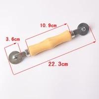 wooden handle double head pressure roller for screen window rubber strip manual pulley screen window pressure wheel tool