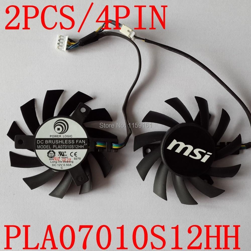 Free Shipping 2pcs/lot  MSI R5770 6770  N450GTS HAWK graphics card  fan PLA07010S12HH 65mm 12V 0.5A