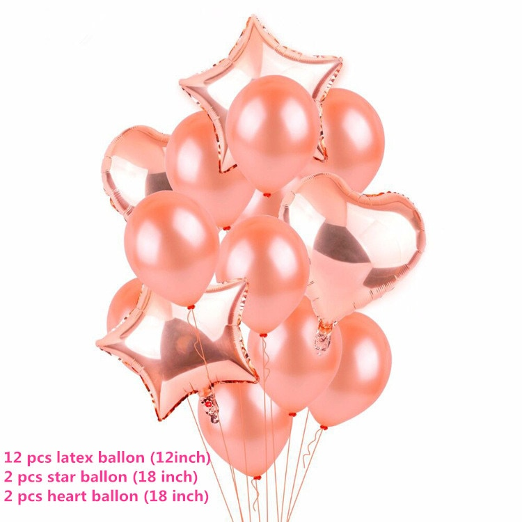 Rose Gold Star Heart Foil Balloons Air Wedding Decoration Helium Balloon Happy Birthday Party Kids Baby Shower