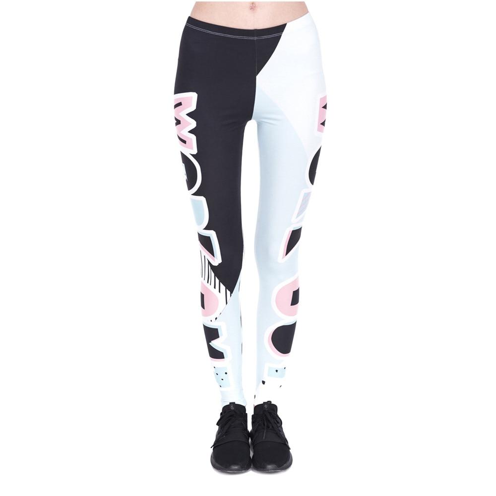 Fashon Fitness Mujer Leggings Work Out parches impresión trabajo Out Legging mujeres alta cintura Slim Leggings