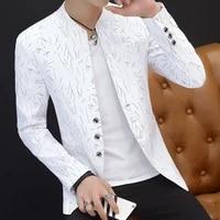 hoo 2021men s casual collar collar blazers youth handsome trend slim print blazers 5xl 6xl