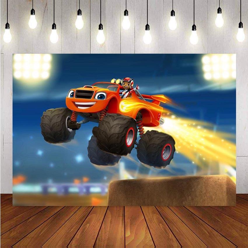 Personalizado criança corrida carros blaze caminhão festa de aniversário fotografia pano de fundo para meninos fundos de aniversário para photo studio banner