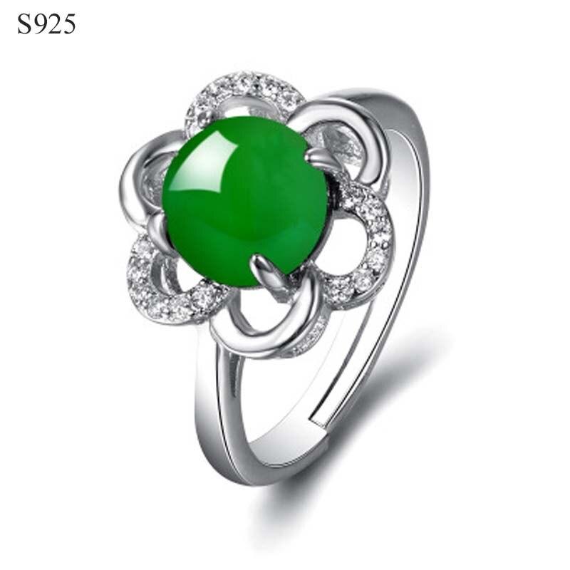 Real puro sólido 925 anillos de plata esterlina para las mujeres gema flor zirconia cúbica Natural Chrysoprase boda fiesta anillo femenino