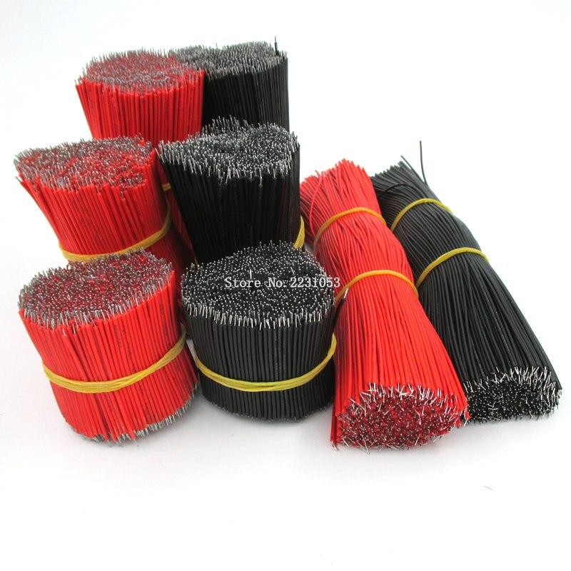Cable de puente de placa de pruebas Chapado en estaño 1007-18AWG, Cable de 5cm, 50mm, 18awg, Color rojo, negro, Flexible, dos extremos, Cable electrónico de PVC 50 Uds.