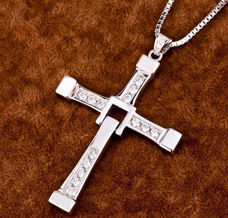 Rápido y furioso collar Toretto S925 de plata esterlina Cruz colgante de joyería collar con cadena de plata de alta calidad