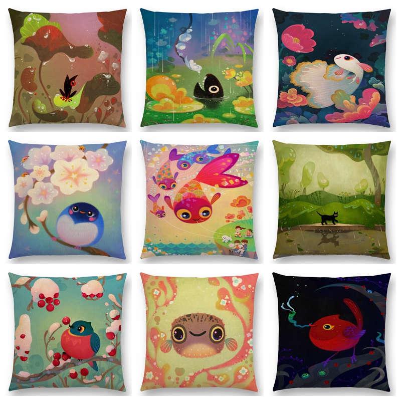 Gran oferta de cojín para sofá con dibujos animados de animales, flores Pastel, bonito Nido de Pájaros, interesante pez gato Rana zorro