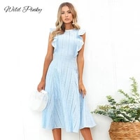 wildpinky boho embroidery white lace midi dress women hollow out ruffled holiday summer dress casual sexy beach dress vestidos
