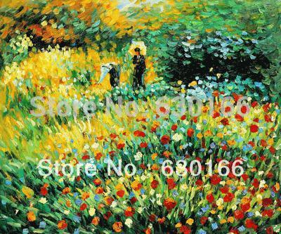 Pintura al óleo clásica para sala de estar, mujer con Parasol de Peter Auguste Renoir, pintura de decoración del hogar pintada a mano