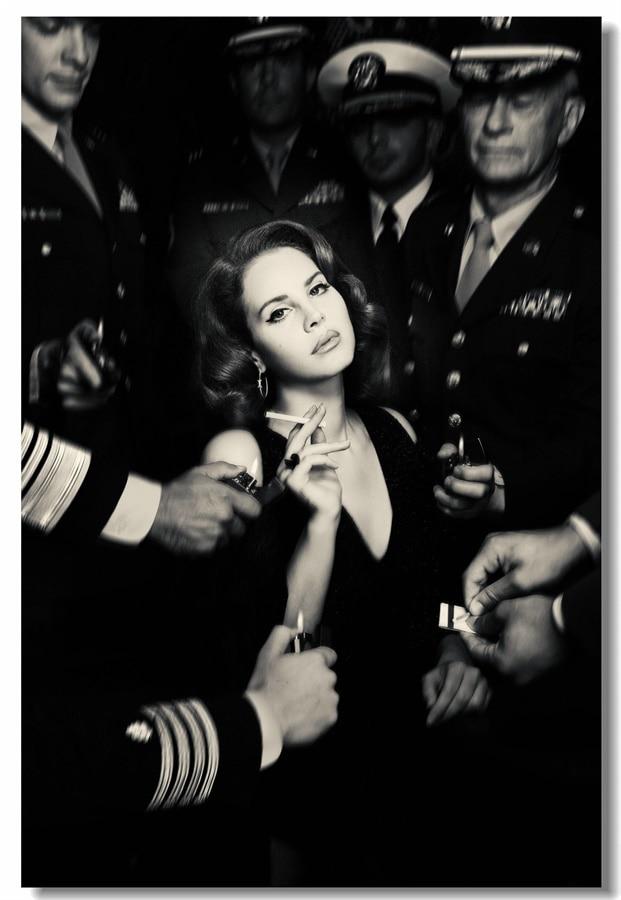 Custom Canvas Wall Decor Lana Del Rey Smoking Posters Lana Del Rey Wall Stickers Black White Mural Living Room Wallpaper #0287#