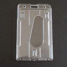 Transparante Dubbele Kaart & Id Houder Acryl Plastic Id Badge Bankkaart Business Case Clear Credit Kaarten Protector Cover