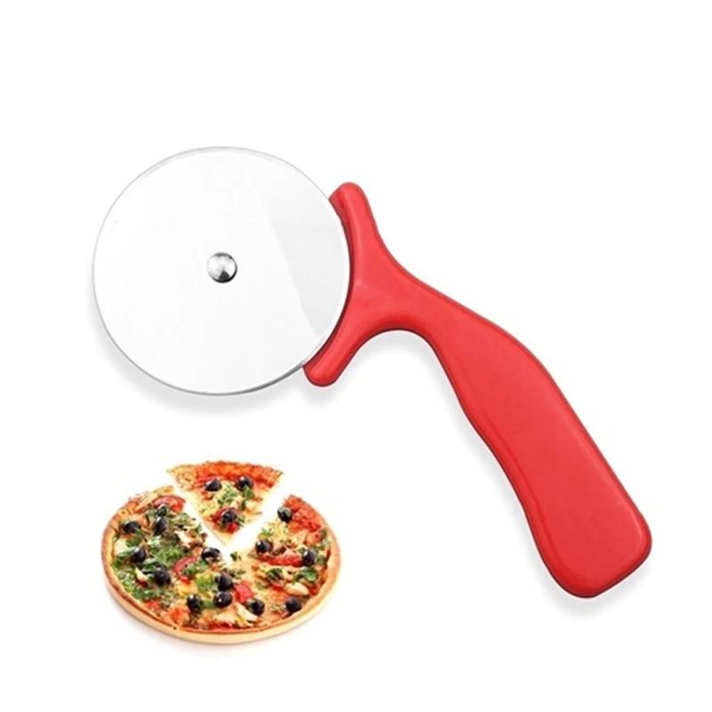 Pizza redonda cortador de acero inoxidable con mango de madera cuchillo cortador de Pizza masa herramientas para hornear de accesorios de cocina