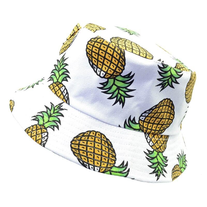 Nueva moda bonita de verano, piña impresa blanca, sombreros de cubo, exteriores, piña, pesca, gorras de sol, k-pop, hombres, mujeres, pescador, sombrero