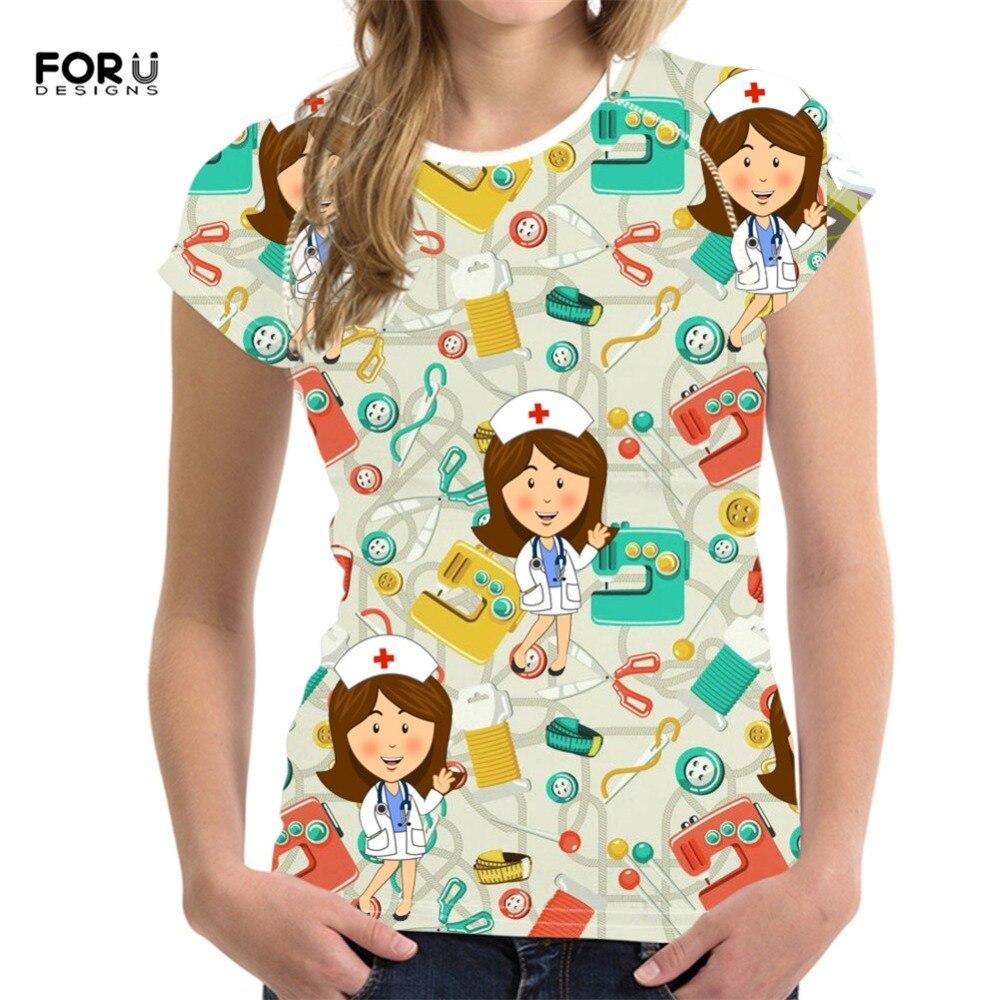 FORUDESIGNS, camiseta de enfermera para mujeres, cuello redondo, camiseta Casual de verano para mujeres, camiseta de mujer cómoda elástica de manga corta, camisetas para niñas 2019