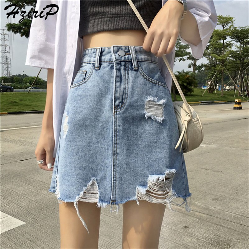 Hzirip Corea Chic 2019 verano mujeres fresco sólido Delgado Irregular alta cintura corta falda suelta agujero moda Mini falda de mezclilla