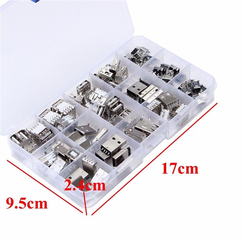 14 סוגים 82 Pcs USB זכר USB נקבה מיני USB SMD אנכי שקע מחבר עבור DIY שקע מחבר יציאת טעינה נתונים תקע