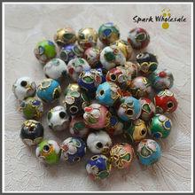200 pcs/lot en gros couleurs mélangées 8mm perles cloisonnées à la main fleur émail perles bricolage lâche bijoux perles