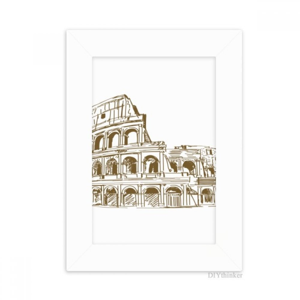 DIYthinker Italia Roma Landmark Sketch paisaje marco de fotos de escritorio, cuadro de Arte Blanco, pintura 5x7 pulgadas
