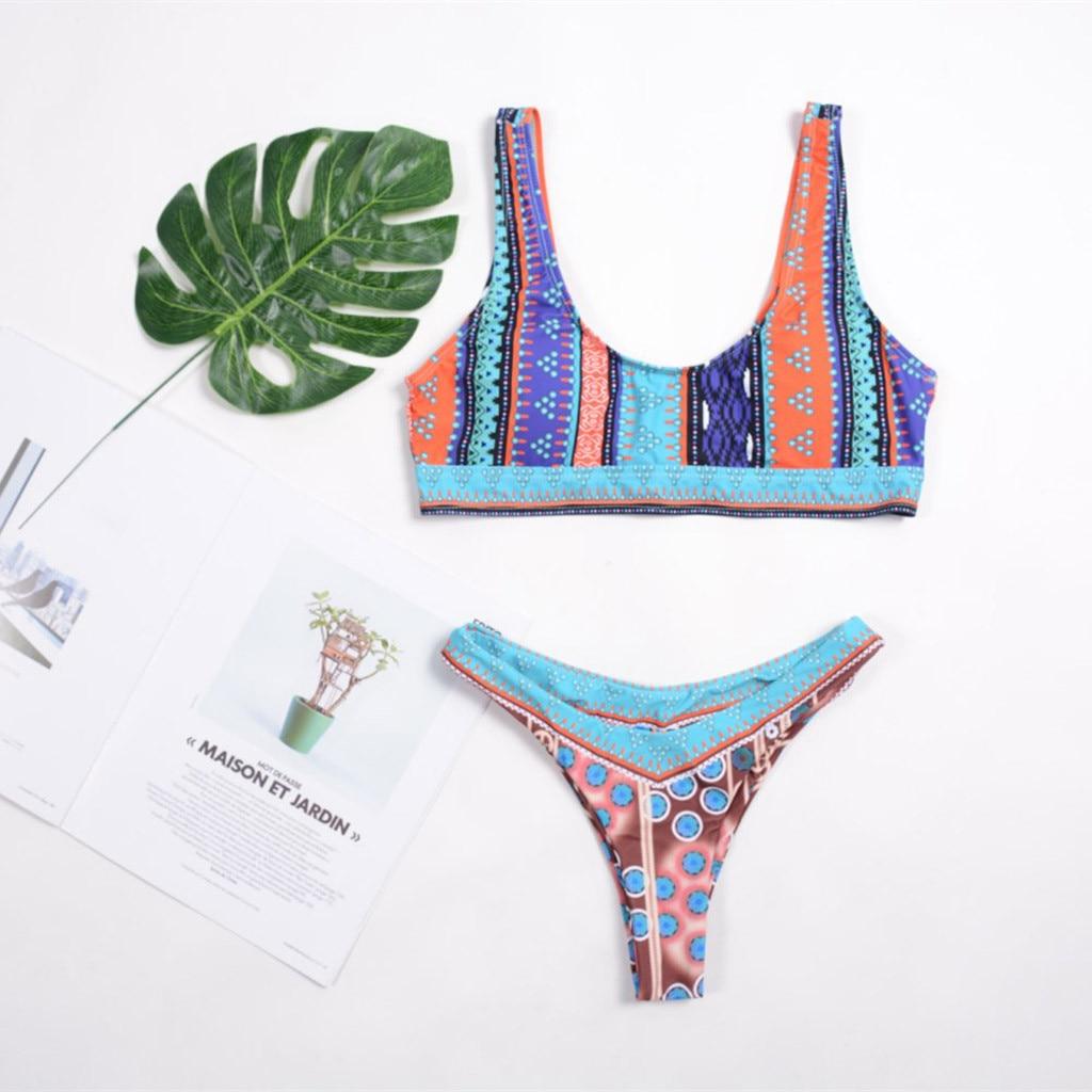 Womail Fashion Ladies Bikini  2019 Summer National Wind Printed Shoulder tankini Sexy Split Swimsuit Hot Sale I300412