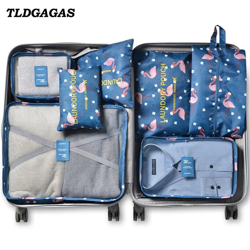 Портативный дорожный Органайзер TLDGAGAS унисекс, 7 наборов для хранения одежды, обуви, косметики, Несессер для туалетных принадлежностей, аксе...