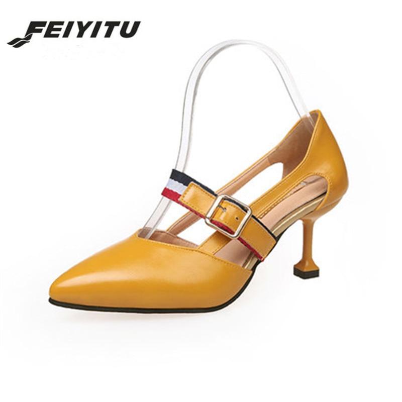 FeiYiTu Hot! Sandals Women's Shoes 2018 New Summer Fine With 6.5 cm Europe Fashion Simple Women's Buckle Strap High Heels Female