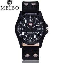 MEIBO брендовые новые модные мужские наручные часы повседневные кожаные военные часы аналоговые кварцевые часы Relogio Masculino