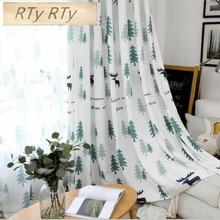 Rideaux occultants modernes/transparents pour le salon fenêtre   Arbre/motif de cerf, rideaux de chambre pour décoration de maison de noël denfants