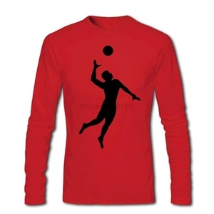 Vintage Style Men Volleyballer Playe Band Shirts Full Sleeve T Shirts Natural Good at Volley Ball Casual Cotton O-neck for Mens