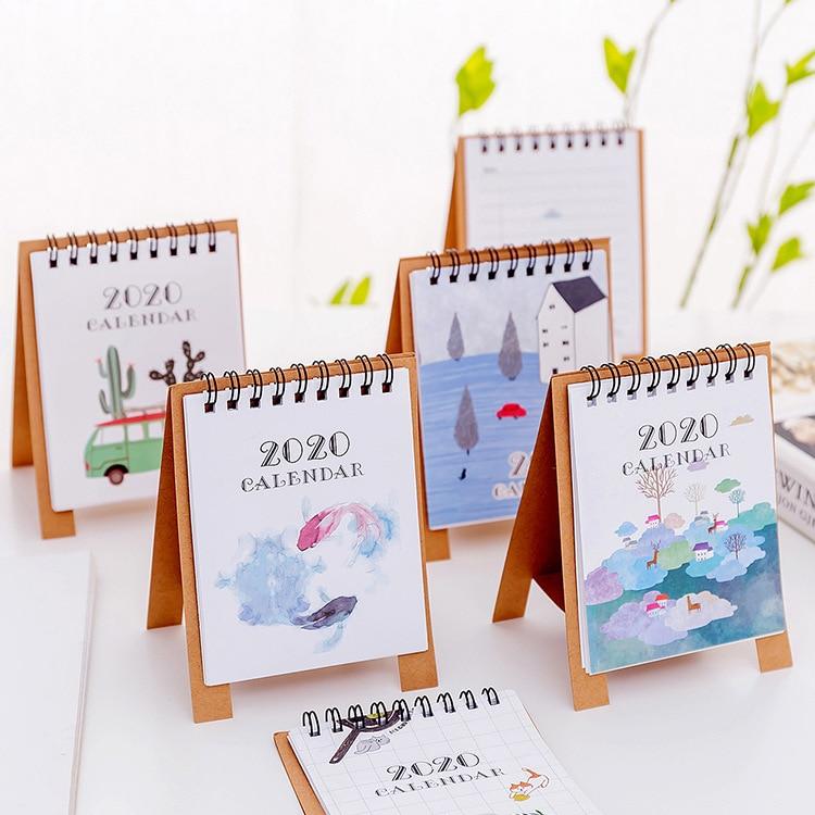 Ручной рисунок 2020 свежий мультфильм Мини Фламинго Настольный бумажный календарь двойной ежедневный планировщик стола планировщик годовой Органайзер