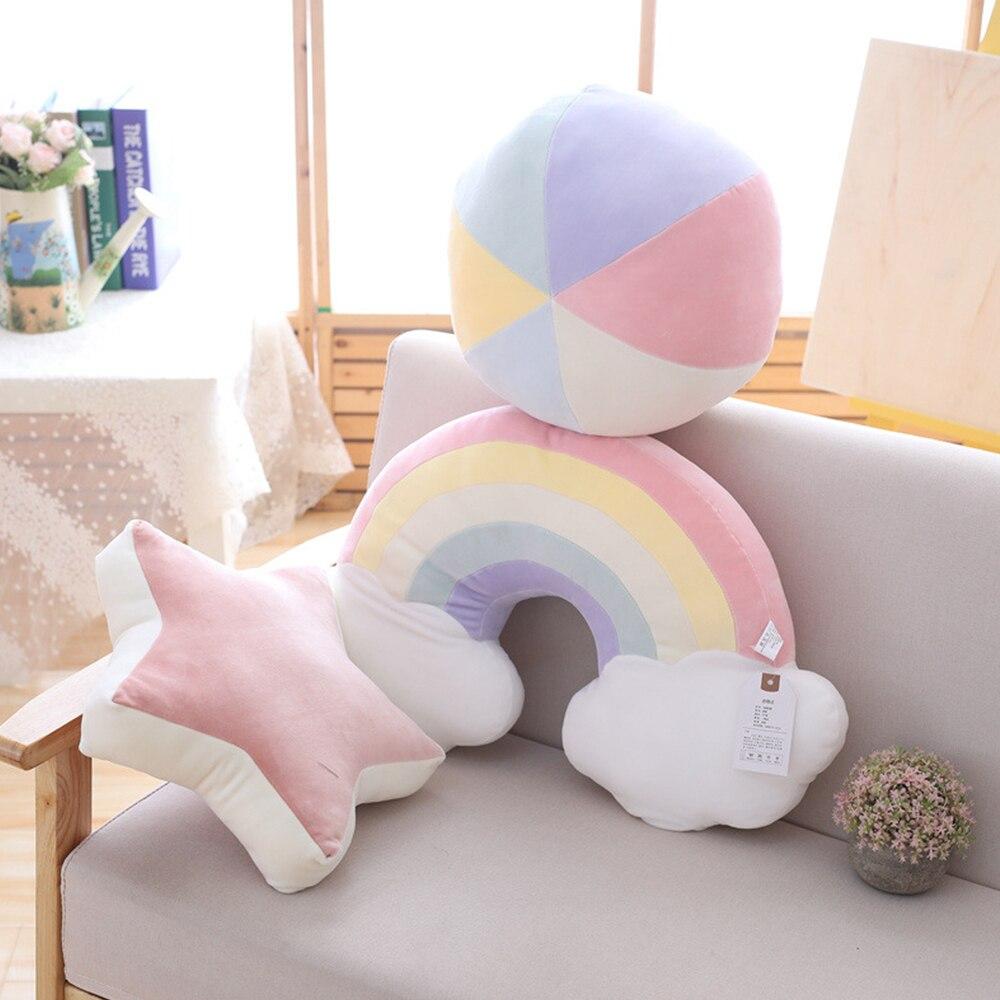 Arcoíris serie cielo almohada de peluche Luna de tiro estrella arcoíris de felpa suave Shell cojín bebé almohada para dormir para decoración del hogar