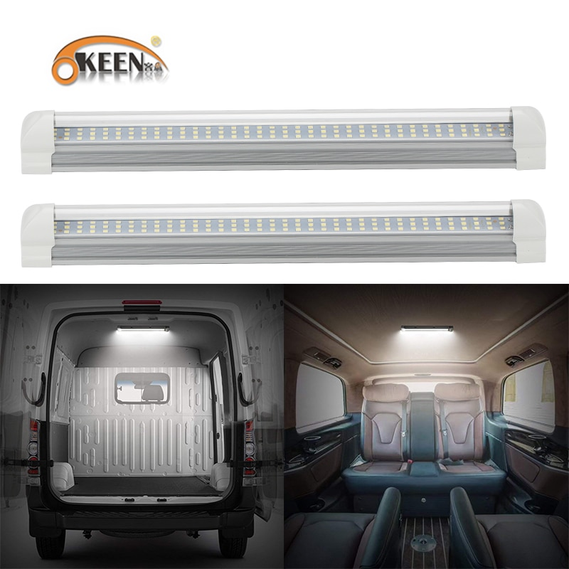 OKEEN, 2 uds., barra Interior de luz LED Universal de 12V, tira de luces LED de 108 con interruptor de encendido/apagado para RV, Van, camiones, camiones, Camper, barco y caravana