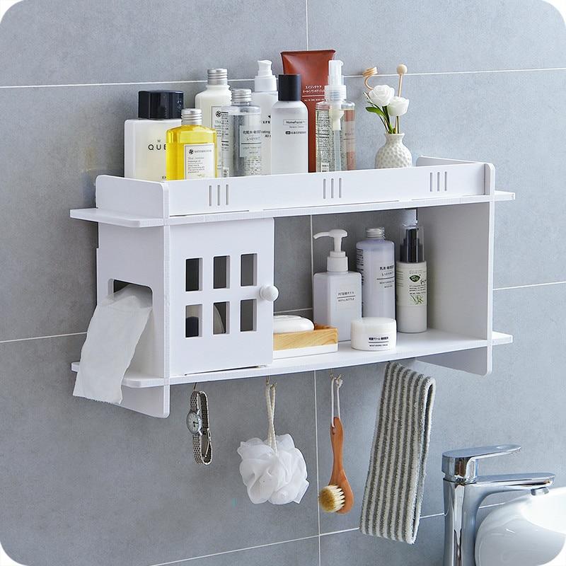 Banheiro rack de armazenamento lavatório banheiro livre perfuração acabamento parede pendurado caixa tecido lo523210