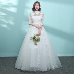 Wedding Dresses 2019 Appliques Lace Embroidery O-neck Half Sleeve Floor-length Ball Wedding Gowns gaun malam