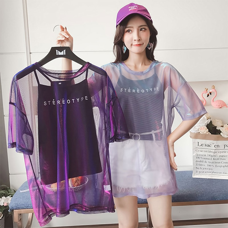 2 Pcs/Set Transparent Round Neck Short Sleeve T-shirt Tops See through T shirt Harajuku Sexy T-shirt