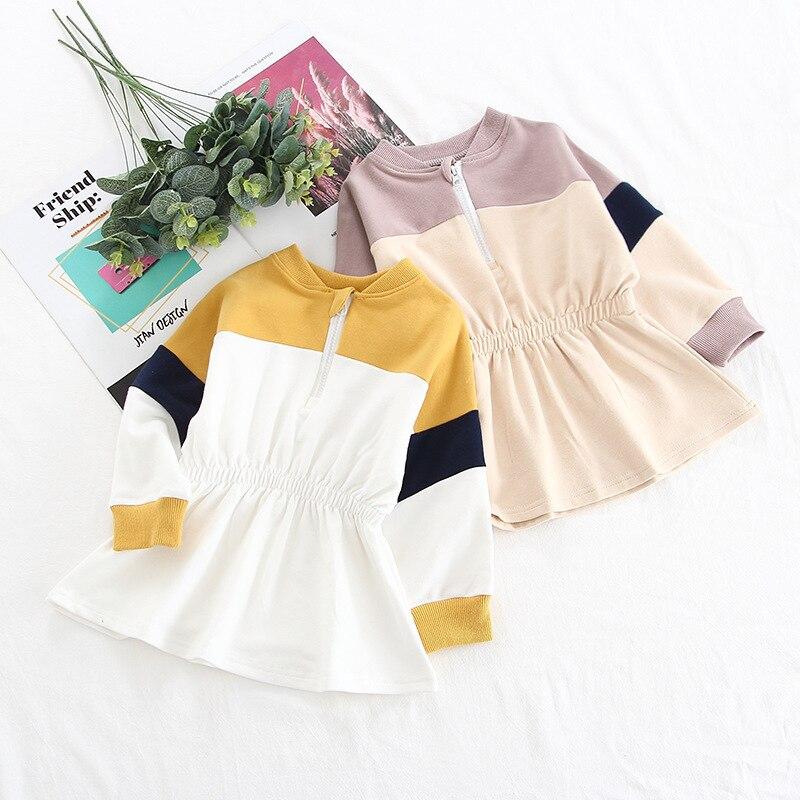 Vestido de suéter para niñas 2019 primavera y otoño nuevo medio y pequeño vestido de punto para niñas