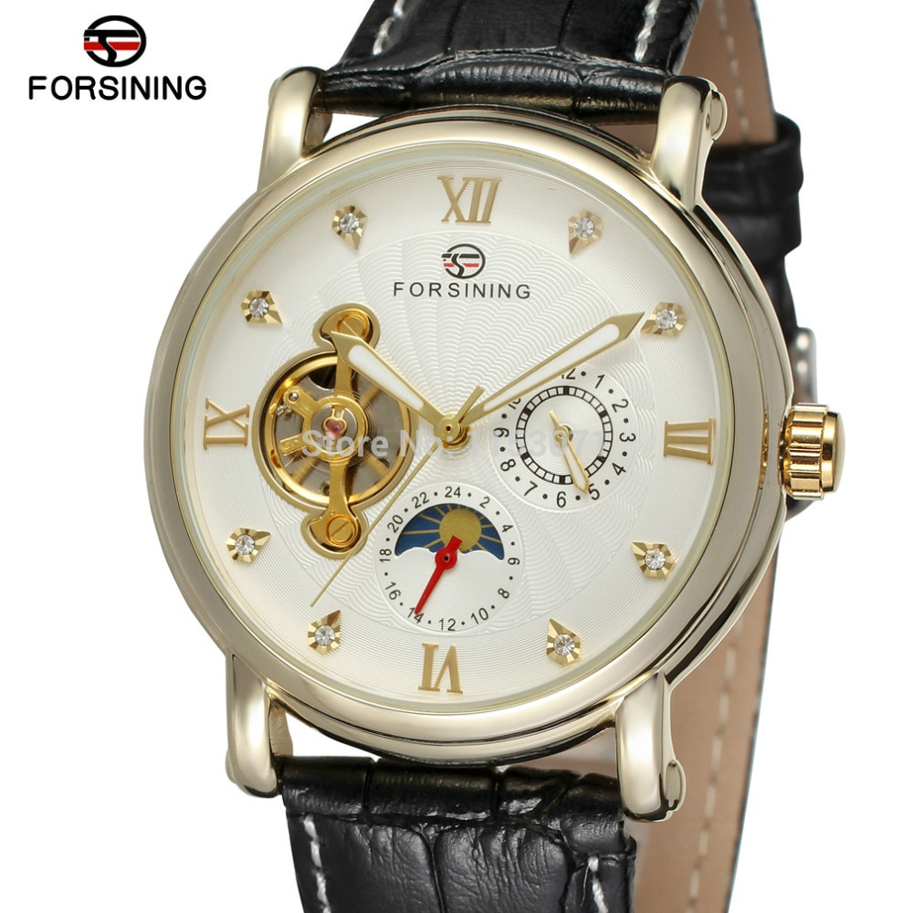 NEW ARRIVE! FORSINING FSG800M3G3 popular design for men automatic watch with gold color case silver dial with stones