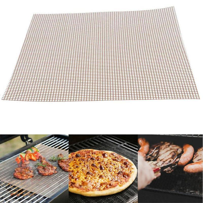 Bbq grill malha esteira reutilizável teflon cozinhar folha resistência ao calor ferramenta de cozinha antiaderente churrasco ferramentas de carne