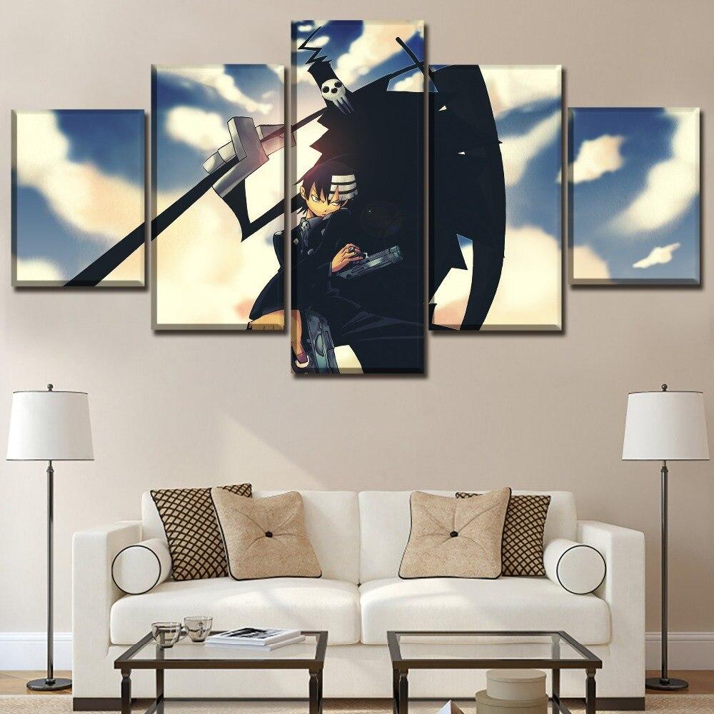 Lienzo impresiones de alta definición carteles Marco de arte de pared 5 piezas Anime Soul Eater pinturas para sala de estar decoración del hogar cuadro Modular