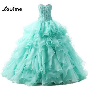 Sparkling Ball Gown Prom Dresses Rhinestone Long Wedding Party Dresses Corset vestidos de 15 anos Evening Gown Robe de Soiree