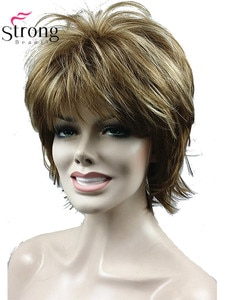 StrongBeauty Short Light Brown Highlights Feathery Shag Shaggy Full Synthetic Wig COLOUR CHOICES