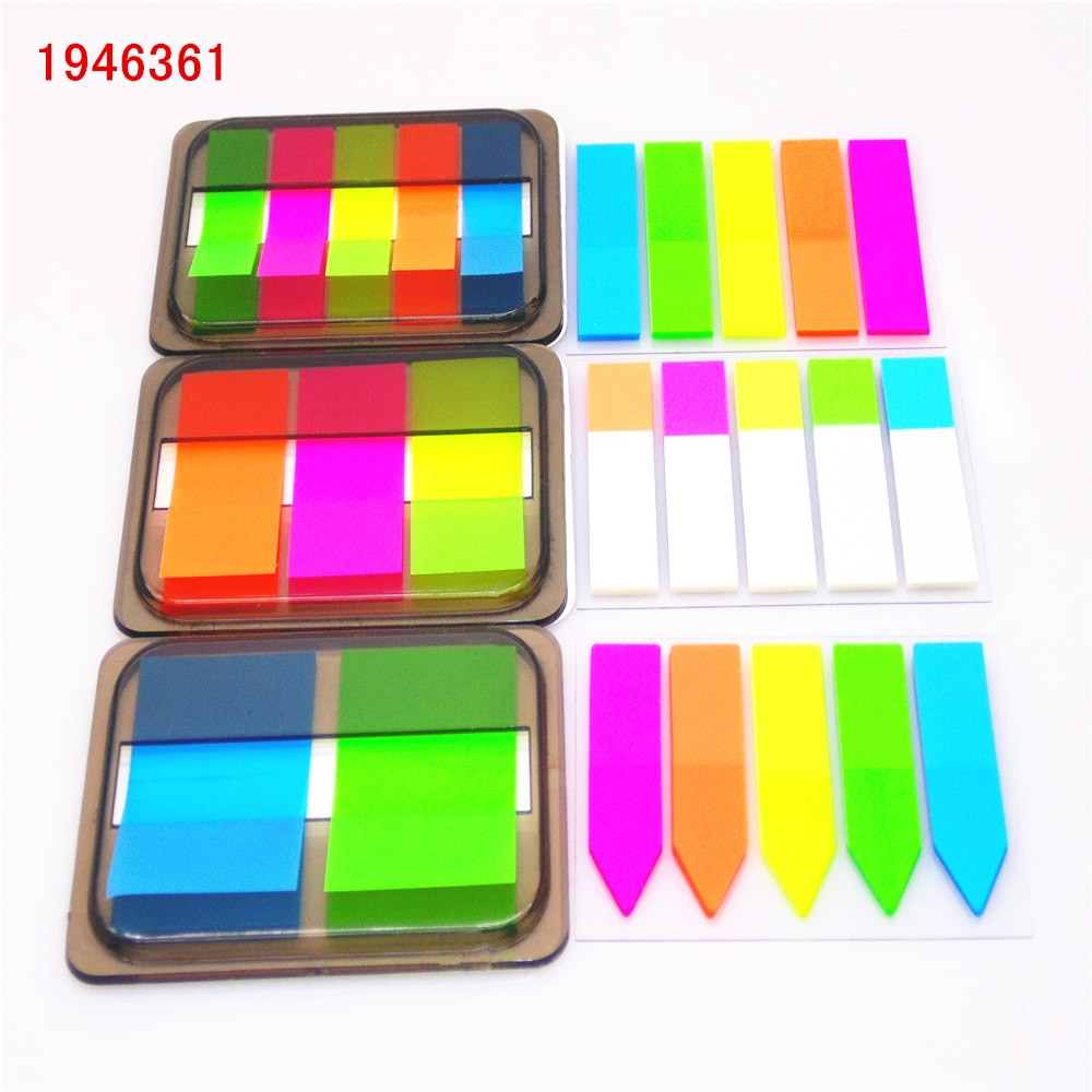 Bloc de notas autoadhesivo de color fluorescente, Bloc de notas adhesivas, marcador de puntos, pegatina de recordatorio, papel, suministros para oficina y escuela