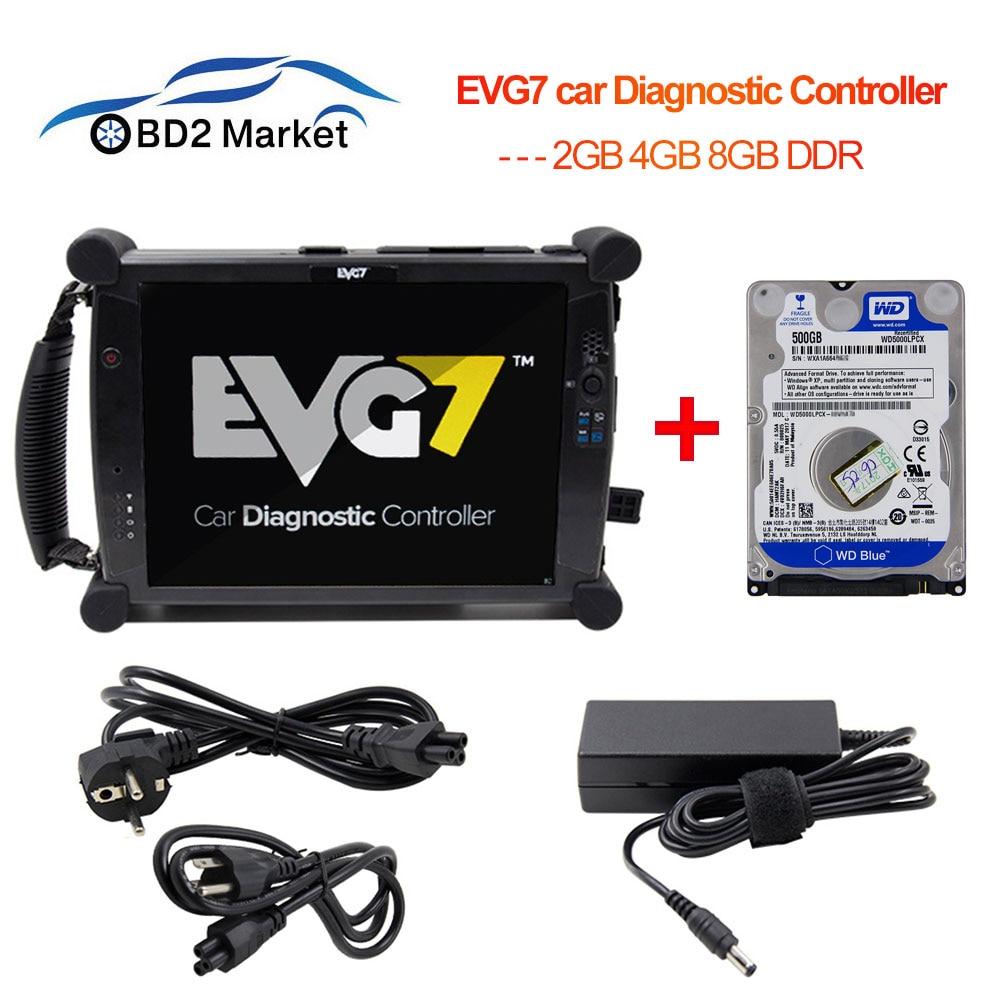 EVG7 DL46/WD 2GB 4GB 8GB DDR car Diagnostic Controller Tablet EVG 7 free Software for C4 Star /MDI/ODIS/TIS Techstream +500G HDD