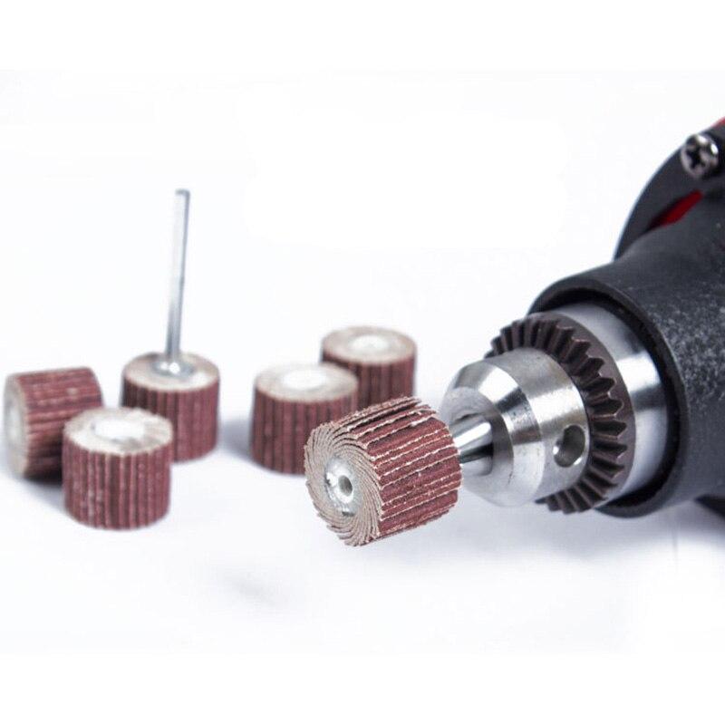 Rueda de papel de lija para pulido, mini herramientas de taladro, accesorios de dremel, disco de lijado, pulido abrasivo para carpintería, 10 Uds. 12mm
