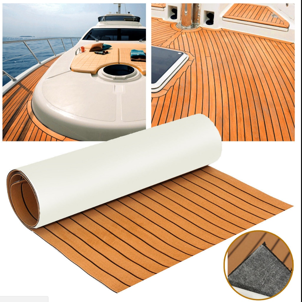 Hoja de teca de espuma EVA autoadhesiva de 6MM, bote marino, yate, cubierta sintética, suelo de espuma, suelo, líneas negras