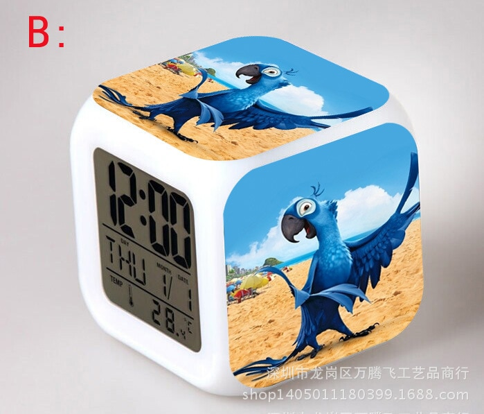 Movie Rio Blu Jewel Parrot LED 7 Color Flash Digital Alarm Clocks Kids Night Light Bedroom Clock reloj despertador