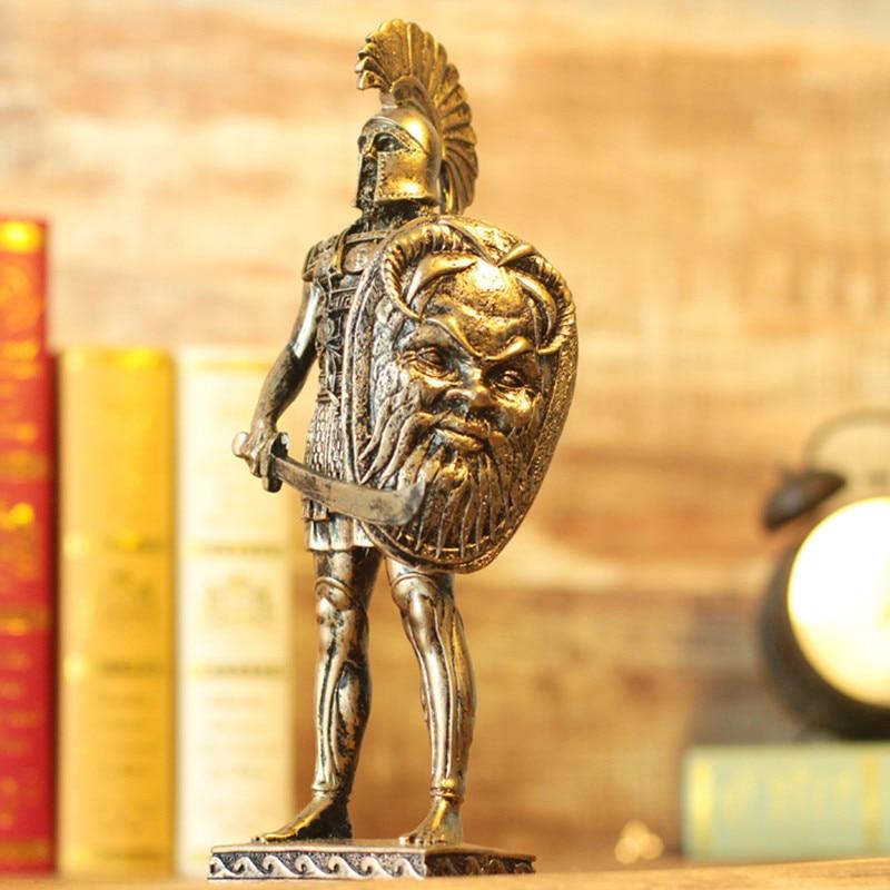 Retro Rome Armour Warrior Ares Mars Loricae estatua armadura samurái Medieval escultura resina artesanía decoración del hogar R05