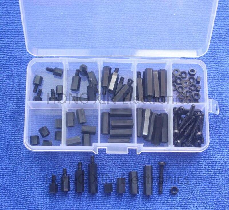 88Pcs/set M3 Nylon Pan Head Screw Hex Nuts Standoffs Spacers Assortment Kit Black Fastener Hardware with Box