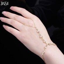 JINSE pulsera de cadena esclava de cristal Simple de moda Pulseira Ouro pulsera esclava brazaletes creados bisutería de cuentas de cristal para mujeres