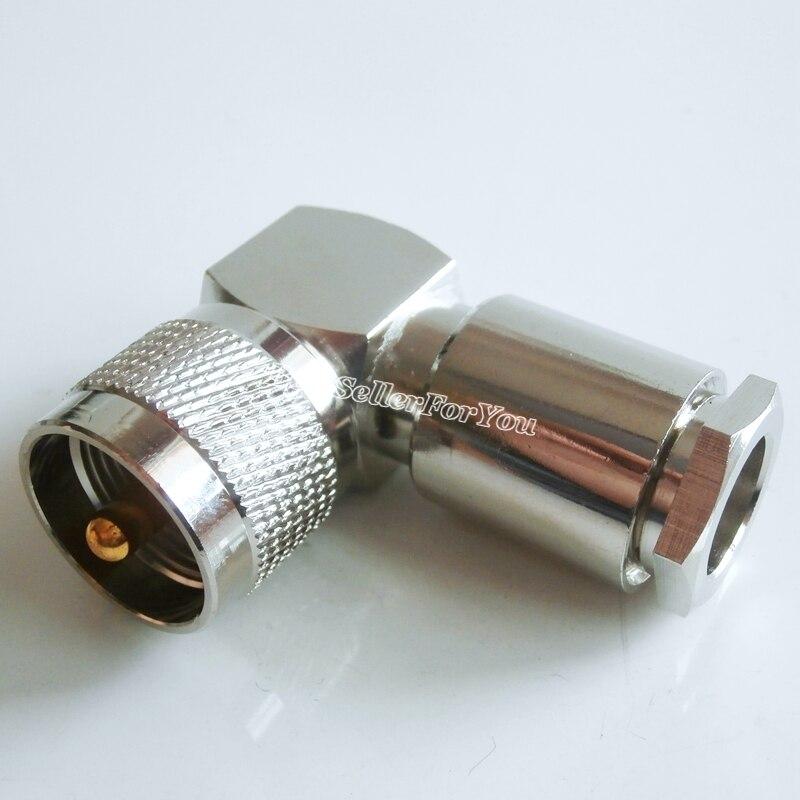 مشبك بزاوية قائمة للموصل ، 10 قطع ، UHF ، pl251 ، ذكر ، لكابل LMR400 RG8 ، RG213 ، RG214